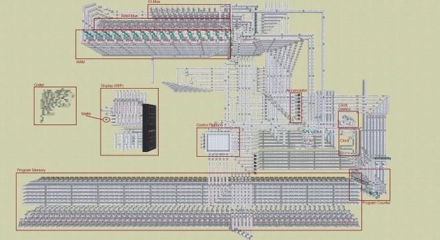 """中的""""红石电路"""",来建造一个搭载有8位cpu和16byte"""