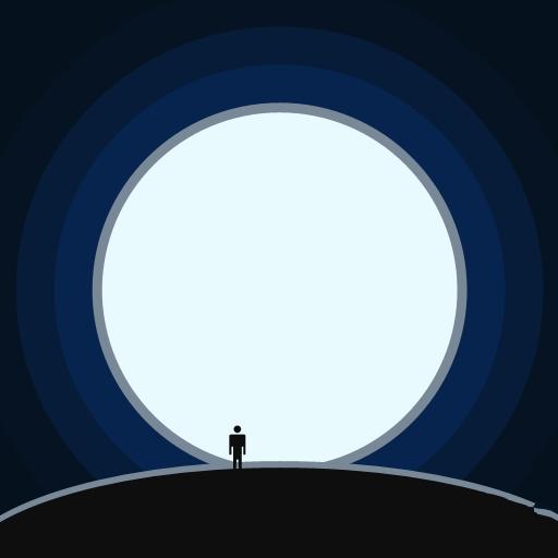 疯狂猜图品牌_两个字_一个人站在月亮下面