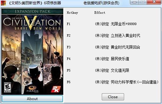 文明5:美丽新世界6项修改器 绿色免费版
