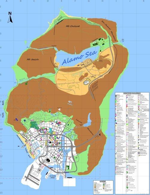 《gta5》全景地图,每一处活动地点(如:飞机场,运动场,银行等)都详细