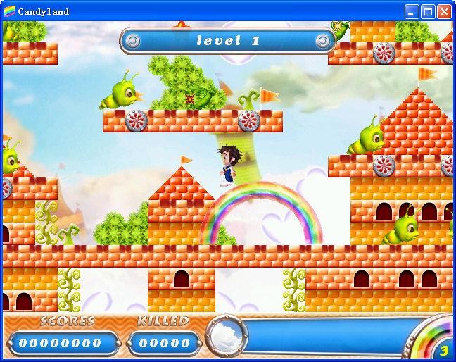 画 面:   卡通的游戏画面,游戏主角也很可爱,就连游戏中的敌人都一样的也是可爱,Q版冒险游戏。   声 音:   游戏共有4个大关,每个大关卡的背景音乐会有所不同。   上手度:   上为跳,左右控制方向,空格发射彩虹,一边按住方向一边连续发射彩虹可以越走越高。发射彩虹也可以攻击敌人,或是鼠标点选屏幕上的Fire按钮。上手度简单。   创 意:   卡通版的游戏画面让MM们不禁对它动心,实际上游戏在很大程度上模仿了街机的彩虹岛,但是游戏画面以及特殊的积分系统还是让这款游戏受到众多游戏爱好者的喜爱。