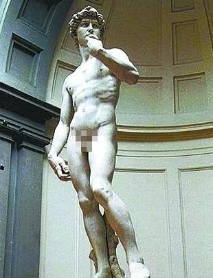 米开朗基罗全裸雕像作品被央视打马赛克